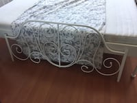 Double IKEA Leirvik frame and linen set with throw pillows Vancouver, V6E 1L7