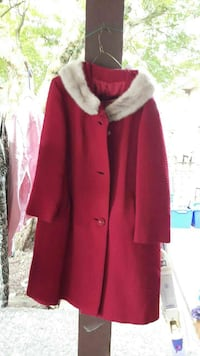 Red three button fur coat