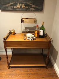 Wood bar cart w castors and drawer