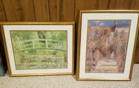two brown wooden framed flower garden and bridge painting