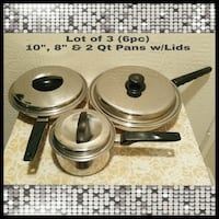 "LOT OF 3 (6PCS) 10"",8"" & 2 QT PANS WITH LIDS Ontario, 91762"