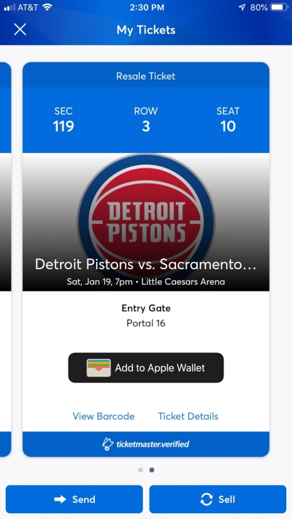2 Detroit Pistons - Sac Kings tickets  Lowerbowl section 119 row 3