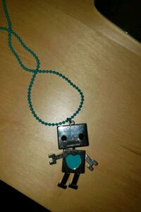 Necklace with stainless steel robot pendant