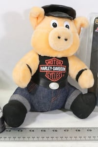 Plush stuffie harley davidson  motorcycle pig biker stuffed toy with jeans and faux leather hat and belt   Will meet for pickup at south common Edmonton