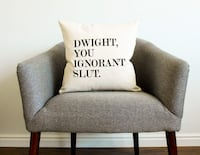 Cotton Linen Throw Pillow Case - Dwight, You Ignorant  Housewarming Gift Cushion Cover 18 X 18 45 mi