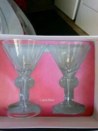 two clear glass footed cups Redding