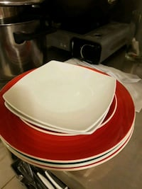 white and red ceramic plate Brooklyn, 11230