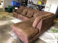 Brown Suede Sectional Couch 588 km