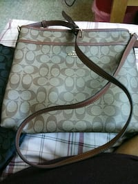 monogrammed brown Coach leather tote bag 2402 mi