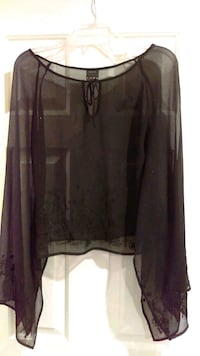 black see-through boat-neck long-sleeved blouse Moreno Valley, 92551