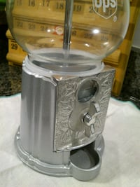 """Small 9"""" UPS Silver Gumball Machine West Springfield"""