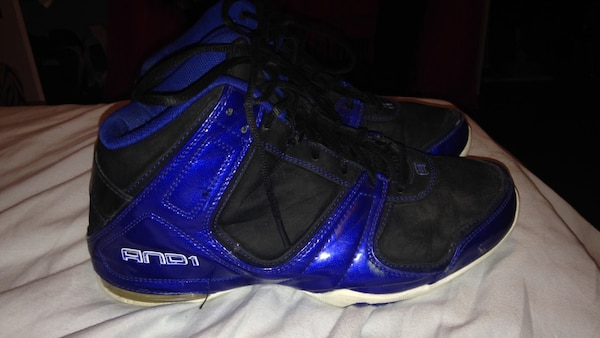 Blue and black and1 basketball shoes