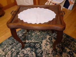 Butler Table, Tea table, glass top end table