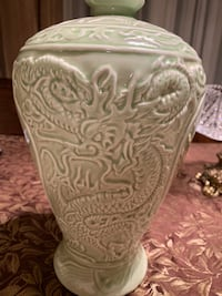 Celadon Chinese Green Vase with dragon hand painted details. TORONTO