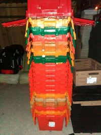 orange, yellow and green plastic containers