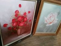 two white and red flowers painting with brown wooden frames Huntington Beach, 92647