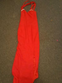 red spaghetti strap long dress size 9/10 slit also