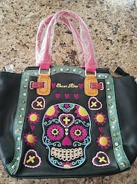 sugar skull leather shoulder bag new