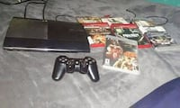 black Sony PS3 slim with controllers and game case Elkhart, 46516