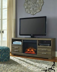 Frantin Brown TV Stand with Fireplace Insert   1201 mi