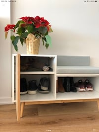 Shoe and seating ottoman storage entryway