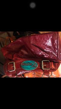 women's red leather hand bag