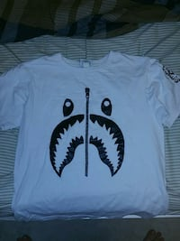 all white bape tee  size large