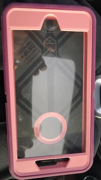pink and black OtterBox iPhone case