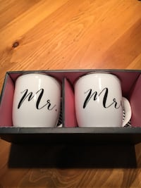 Mr and Mrs Mugs. Brand new and larger size. Great for weddings or bridal showers, or just regular Mr and Mrs.  3157 km
