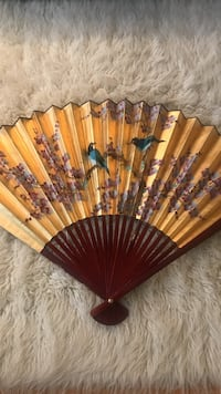 "Hand painting Decoration wall fan. 49""w, 29""h."