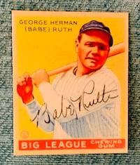 Babe Ruth Big League Chew #53 Baseball card( Probable reprint)