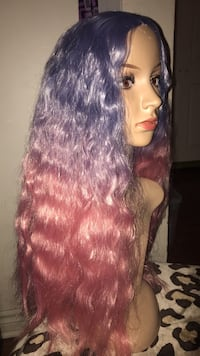 Purple and pink long wig