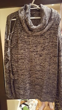 Nadia Aboulson cold shoulder sweater from ADDITION Hamilton, L8P 3B5