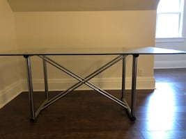 Modern Glass Desk with Metal Base