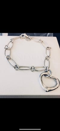 925 Sterling Link Open Heart Bracelet