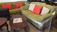 brown wooden framed green padded couch San Antonio, 78237