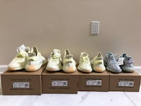 Authentic Yeezy 350 V2 in both Butter and Blue Tint colors