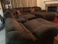 6pc chocolate brown sectional, 2 recliners, an 1 chase recliner, storage console * recliners electronic  Austin, 78748