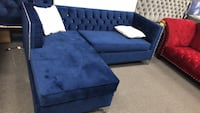 tufted blue fabric sectional sofa Mississauga, L5S