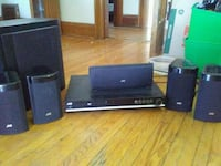 black JVC 5.1 home theater system