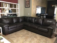 black leather sectional couch with throw pillows Washington, 20024