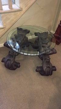 round glass table with plaster laid legs (heavy duty