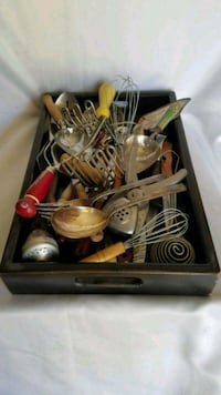 28 very old kitchen utensils/gadgets & silver plated service ware.