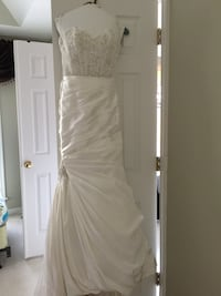 women's sequined white bridal gown