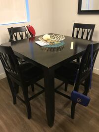 Black wooden square kitchen table