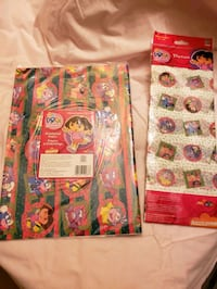 "Dora Wrapping paper, 2 sheets 20""x30"" + tissue paper 5 sheets, 20""x26"""