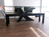 Glass surface table