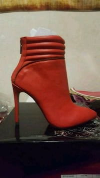 Red Ankle High Heel Boots  Maplewood