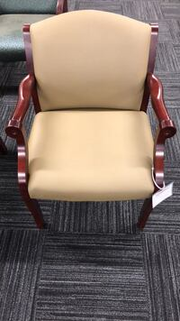 brown wooden frame white leather padded armchair Columbia, 21046