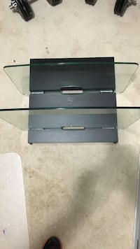 Component Shelf Mount with wood grain and two large glass shelves Milford, 45150